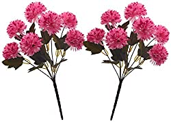 Fourwalls Chrysanthemum Ball Flower Bouquet (49 cm, Light Pink, 7 Branches, Set of 2)
