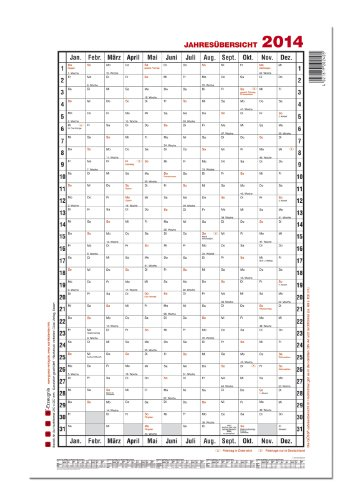 GÜSS Jahresübersicht hochformat, Nr. 5a, 2015, DIN A1, Ta5esfeld: 4,3cm x2,6cm, Größe: 60cm x 98cm