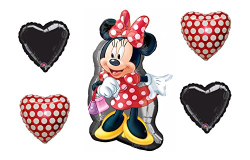 "Disney Bouquet of Minnie Mouse Full Body Shape 32"" Mylar Foil Balloon, 2 Polka Dot and 2 Black Hearts"