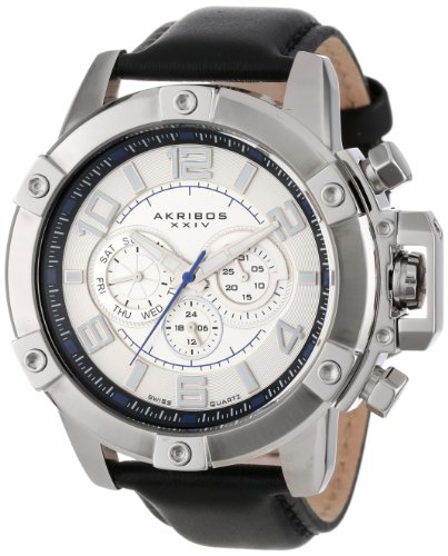Akribos Xxiv Men'S Ak605Wt Conqueror Multi-Function Stainless Steel Swiss Quartz Leather Strap Watch