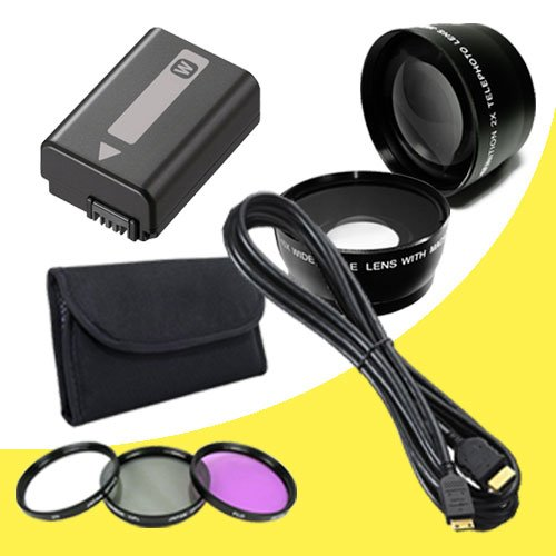 Npfw50 Replacement Lithium Ion Battery + 49Mm 3 Piece Filter Kit + Wide Angle Lens + 2X Telephoto Lens + Mini Hdmi Cable For Sony Nex-5N Nex-7 Nex-C3 Alpha Digital Slr Cameras Davismax Accessory Bundle