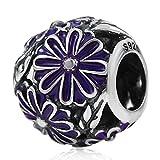 Charmstar Daisy Meadow lavender Enamel Charm Antique 925 Silver Purple Flower Bead Fits European Style Bracelet