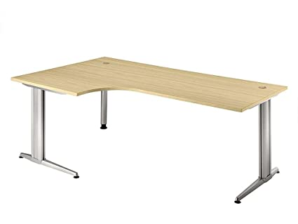 Table équerre, piètement en C 200x120cm 90°, couleur Prune