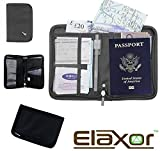 Elaxor™ Cute High Quality Multi-Functional Compact Zippered Passport, cards, cash and Travel Document Organizer Wallet Case (Black)