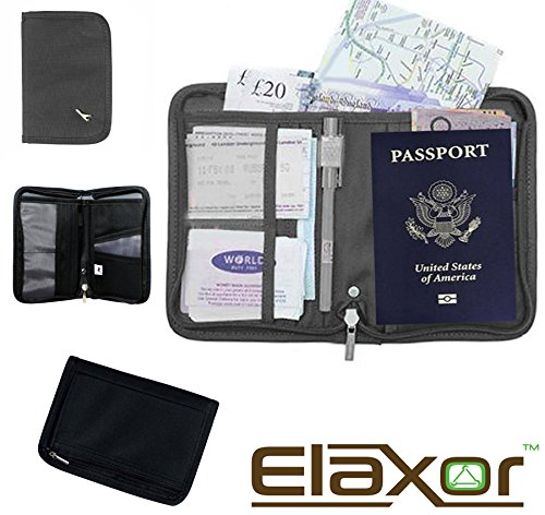 Elaxor™ Cute High Quality Multi-Functional Compact Zippered Passport, cards, cash and Travel Document Organizer Wallet Case (Gray) (Deluxe Coupon Organizer Ii compare prices)
