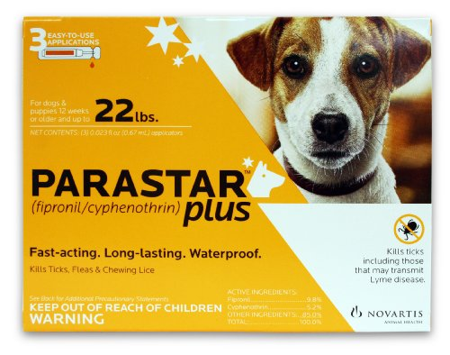 Novartis Parastar Plus Flea and Tick Control for Dogs Up to 22-Pound, Orange