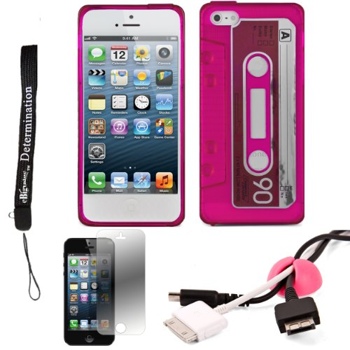 Pink Tpu Audio Cassette Protective Skin For Apple Iphone 5 Ios (6) Smart Phone + Pink Cord Organizer + Apple Iphone 5 Screen Protector + An Ebigvalue Tm Determination Hand Strap