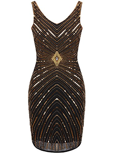 Vijiv Women's 1920s V-Neck Art Deco Sequin Beaded Tank Cocktail Flapper Dress