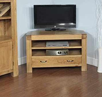 Plaza Rustic Oak Furniture Corner TV Unit Cabinet
