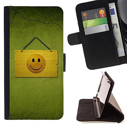 Momo Phone Case / Protettiva Custodia Flip Wallet in pelle - Smiley Happy Face Disegno simbolo del segno Giallo - Apple Iphone 6