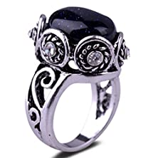 buy Yazilind Vintage Oval Round Cut Blue Lapis Lazuli Silver Plated 8 Ring Women