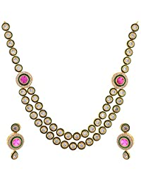 Divya Collection American Diamond Kundan Necklace Set With Ruby Stone For Women