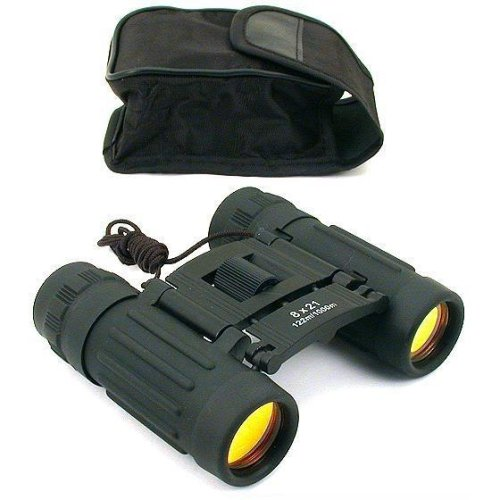 8X21 Black Binoculars Ruby Coated Lens Hunting Camping