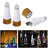 USB LED Bottle Lights, T-Trees 3 Pack USB Powered Rechargeable 7-Colour Changing Wine Bottle Lights, Creative Colorful Decor Light Stick Cork Stopper for Party Wedding Bar or Festival (Multi-colored)