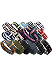 BARTON Watch Bands; Choice of Colors, 3 Widths (18mm, 20mm or 22mm); Ballistic Nylon, Stainless Steel