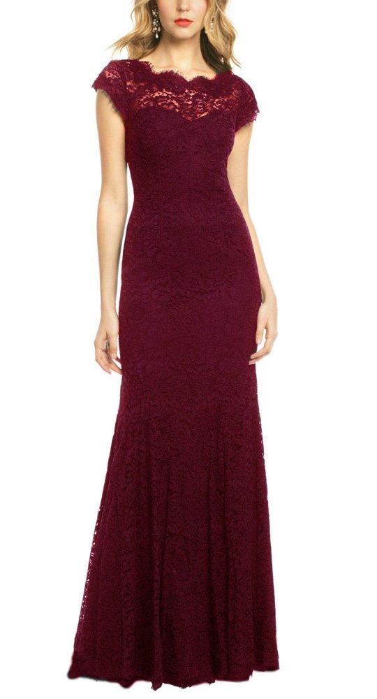 REPHYLLIS Women's Retro Floral Lace Vintage Wedding Maxi Bridesmaid Long Dress 0