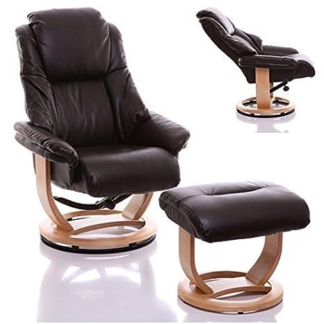 Sillón The Emperor - silla giratoria reclinable de cuero y reposapiés a juego en color Chocolate
