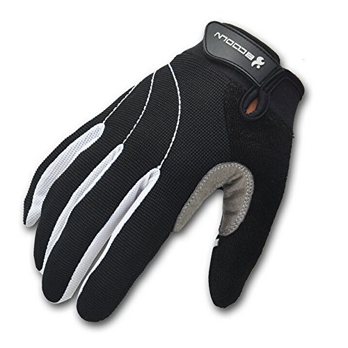 Ezyoutdoor Unisex Full Finger Sport Glove for Cycling Gloves Mountain Bike Bicycle MTB Downhill Off Road (White, Large)