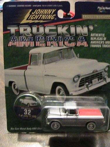 johnny lightning truckin' America 1955 Chevy Cameo Sliver Collector Truck - 1