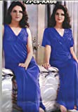 Odishabazaar Hot Sleep Wear 2pc Nighty Over Coat Blue Women Babydoll Bed Night Set