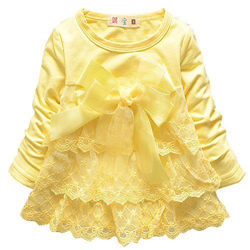 CM-Kid Baby Girls Solid Color Dress Long Sleeve Lace Petticoat with Bow