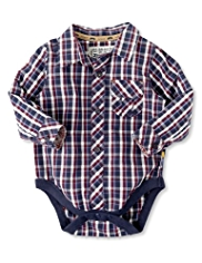 Autograph Pure Cotton Checked Shirt Bodysuit