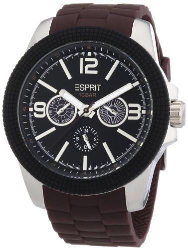 Esprit ES105831004 - Reloj de pulsera para hombre con mecanismo de cuarzo, caja de acero y correa de plástico (tamaño XL) color marrón