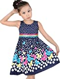 Girls Dress Navy Blue Butterfly Party School Child Size 4-12