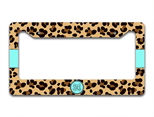 Personalized car tag frame - Leopard print in brown and turquoise (License Plate Frame Cheetah Print compare prices)