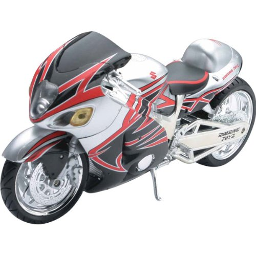 New Ray Suzuki Roaring Toyz Custom Hayabusa Replica Motorcycle Toy - Silver/Black/Red / 1:12 Scale