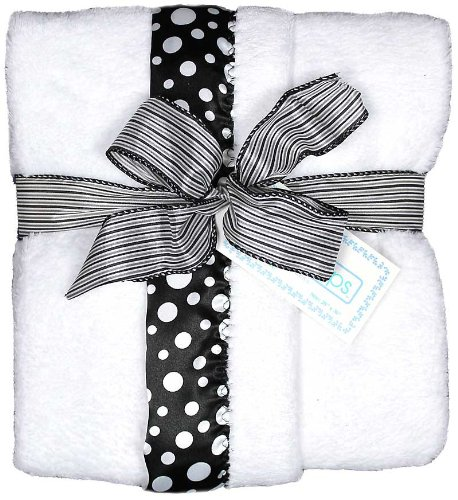 Raindrops Flurr Receiving Blanket, Black with White Dots