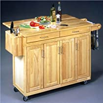 Hot Sale Home Styles 5023-95 Wood Top Kitchen Cart with Breakfast Bar, Natural Finish