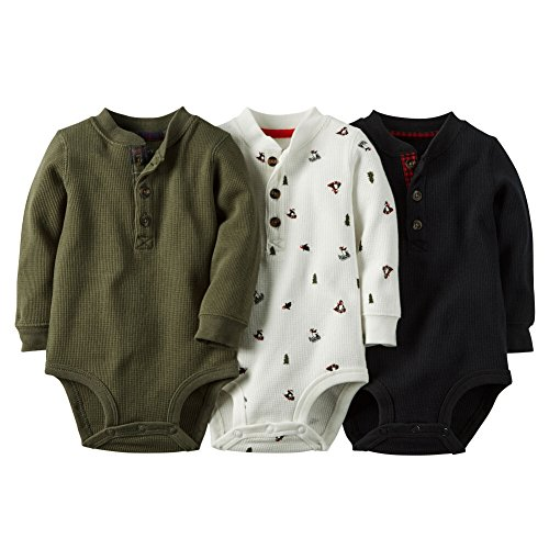 Carter's Baby Boys' 3-pack Long-sleeve Henley Thermal Bodysuit Set (Newborn, Black Multi) (Baby Thermal Bodysuits compare prices)