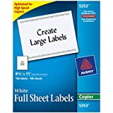 Avery Full Sheet Shipping Labels for Copiers, 8.5 x 11 Inches, White, Box of 100  (5353)