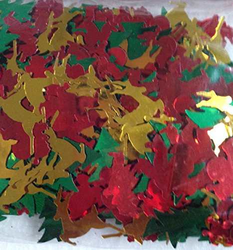 Metallic Christmas Shape Multi Color Confetti 1/2 Oz Tree Reindeer Santa