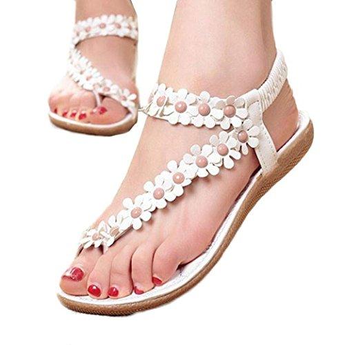 Tenworld Women Sandals Bohemia Beaded Clip Toe Sandals Beach Herringbone Sandals (8