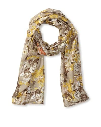 Carolina Amato Women's Ribbon-Trim Floral Scarf, Yellow As You See