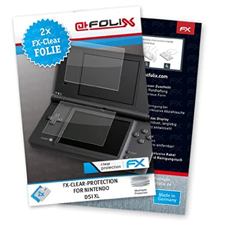 2 x atFoliX FX-Clear Invisible screen protector for Nintendo DSi XL / DSiXL NDSiXL NDSi-XL - Ultra clear screen protection! Highest Quality - Made in Germany!