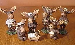 7 Piece Moose Nativity Scene Set Faux Carved Cabin Wood Christmas Lodge Decor