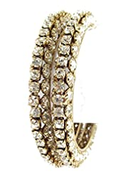 Aria Party Wear CZ Gold Plated 2pc New Bangles For Women L41
