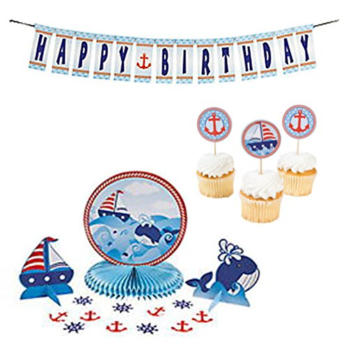 """Nautical Sailor Party Theme Decoration Supply Pack: Paper 1st Birthday Sailor Tabletop Décor Kit, Paper 1st Birthday """"Sailor Happy Birthday"""" Jointed Banner, and Paper Birthday Sailor cupcake Picks."""