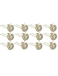 Pink Rose - Complement Collection Gold White Alloy Stone Apple Charm Hair Pins For Women (12 Pins)