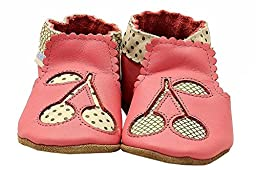 Robeez Cherry Soft Sole Crib Shoe (Infant), Sorbet, 6-12 Months M US