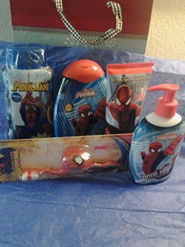 Marvel Spiderman Bathroom Set 5 Pieces Hair Gel/Body Wash/Shampoo/Hand Soap/Tooth Brush Gift Set