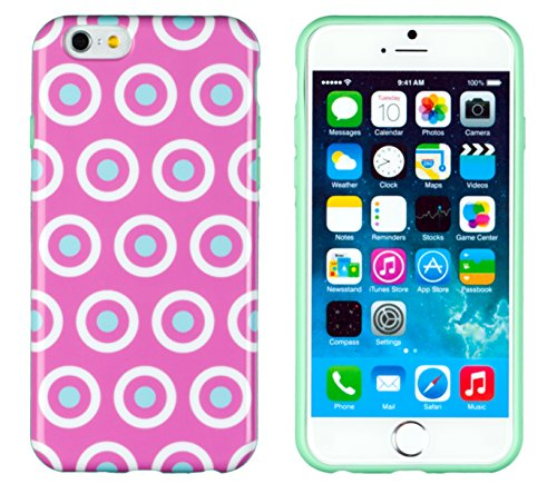 """Iphone 6 Case, Dandycase Perfect Pattern *No Chip/No Peel* Flexible Slim Case Cover For Apple Iphone 6 (4.7"""" Screen) - Lifetime Warranty [Pink & White Circles With Mint Green Dots] front-721537"""