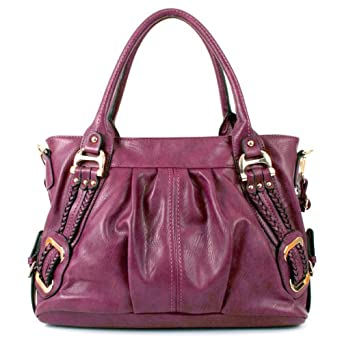 Melie Bianco Emma Braided Side Handbag (Berry)