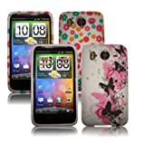 2 PACK OF FLOWERS & BUTTERFLIES WHITE GEL CASES FOR HTC DESIRE HD