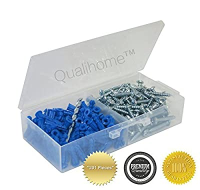 Ribbed Plastic Anchor Kit with Screws and Masonry Drill Bit