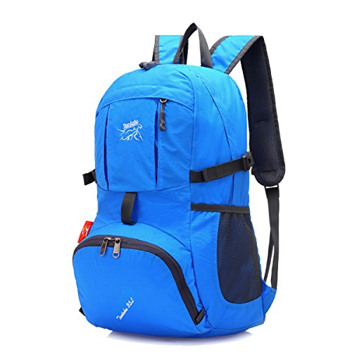 Zerd Outdoor Ultra-Light Water-Repellent 35L Packable Handy Lightweight Travel Backpack Daypack For Camping Hiking Trekking Mountain Climbing 7 Color Blue
