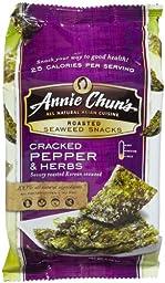 Annie Chun\'s Cracked Pepper & Herbs Seaweed Snacks, 0.35 oz, 12ct